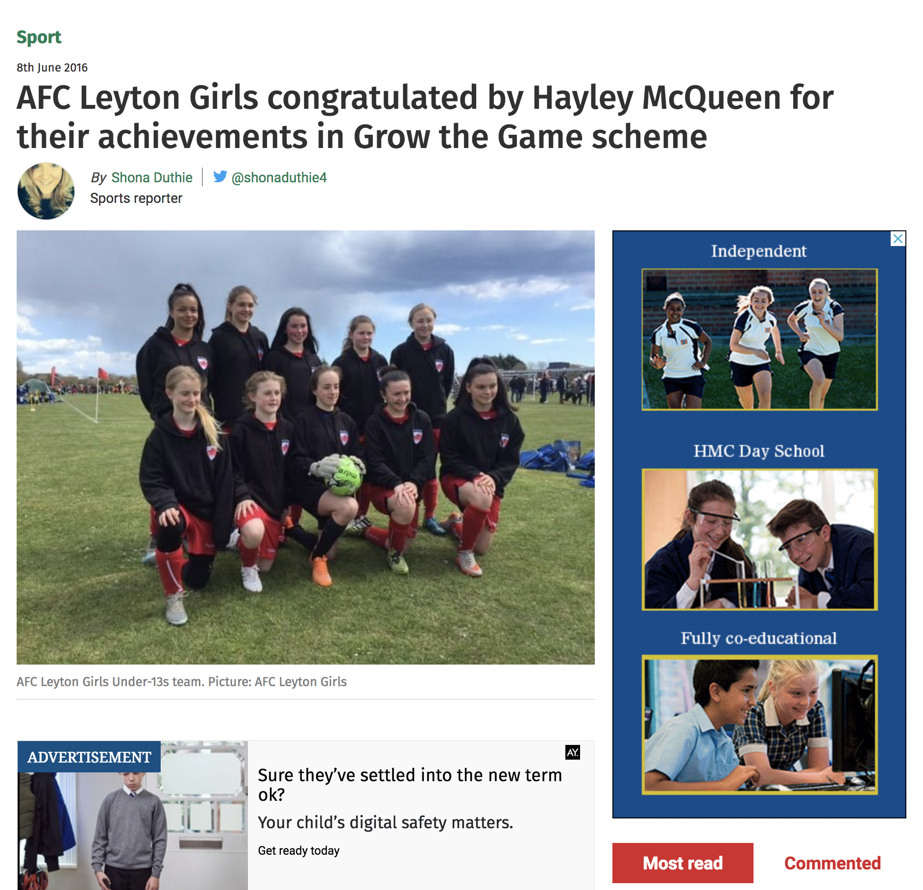 AFC Leyton Girls congratulated by Hayley McQueen for their achievements in Grow the Game scheme