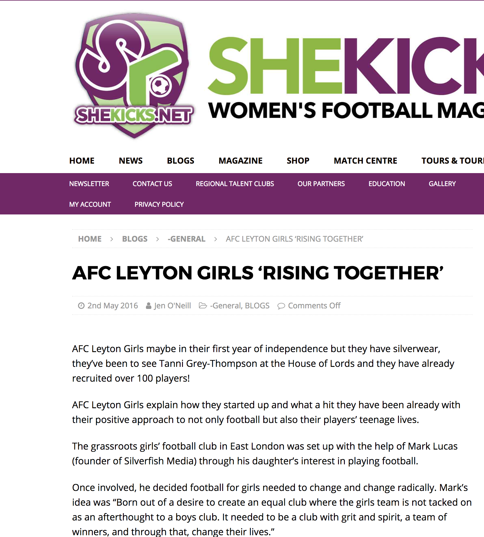 AFC Leyton Girls in their first year of independence