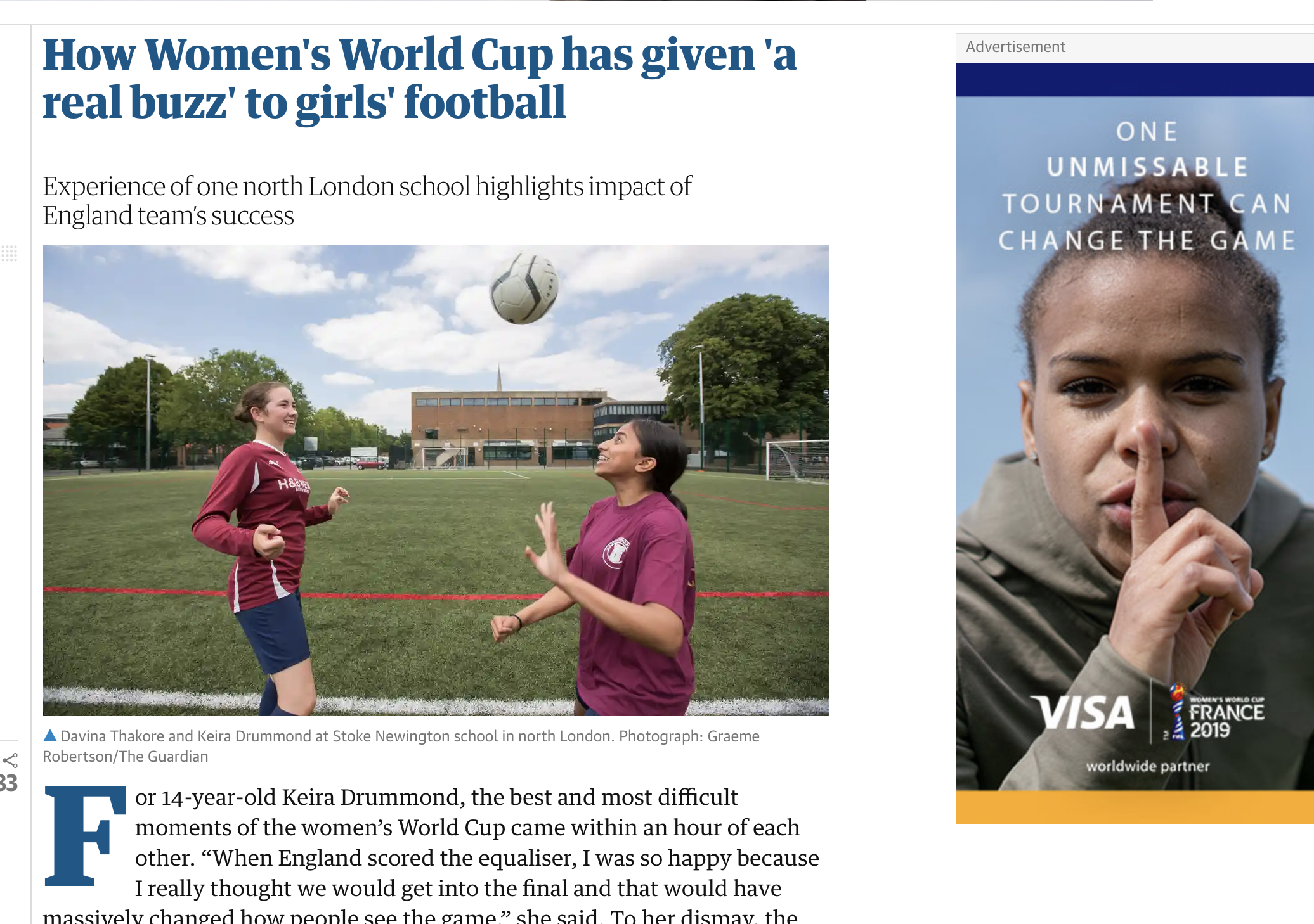 The Guardian: How Women's World Cup has given 'a real buzz' to girls' football